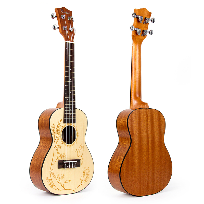 Kmise Concert Ukulele Solid Spruce Ukelele 23 inch 18 Frets Uke 4 String Hawaii Guitar acouway 21 inch soprano 23 inch concert electric ukulele uke 4 string hawaii guitar musical instrument with built in eq pickup