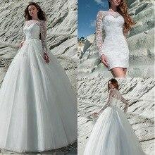 رائع تول & دانتيل باتو خط العنق 2 في 1 فستان الزفاف الدانتيل زين كم طويل فستان الزفاف مع تنورة قابلة للإزالة