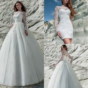Image 1 - פנטסטי טול & תחרת Bateau מחשוף 2 ב 1 חתונה שמלת תחרה אפליקציות ארוך שרוול כלה שמלה עם נשלף חצאית
