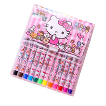 12 Pcs/set Kreatif Novel Hello Kt 12 Warna Lukisan Cat Air Pena Gadis Kartun Lukisan Pena Set Hadiah Anak(China)