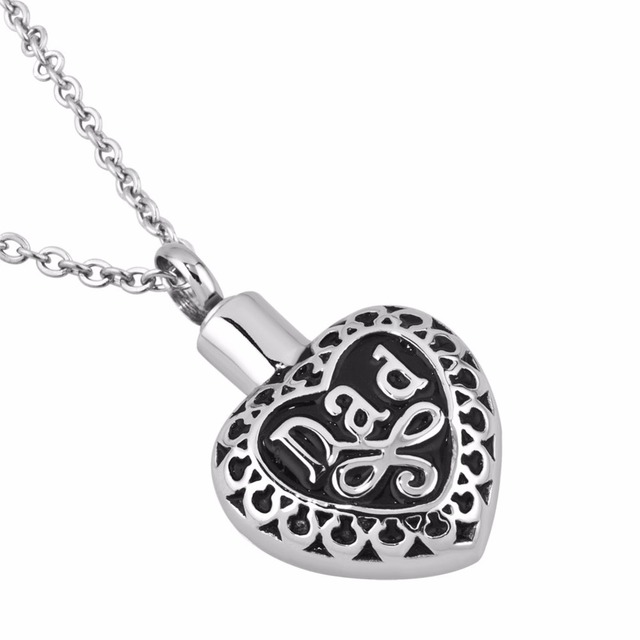 Stainless Steel Lace Heart Memorial Necklace