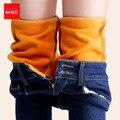 Альпака бархат Теплые джинсы женские с высокой талией растяжки узкие черные джинсы женские зима бархат карандаши тощие джинсы штаны большого размера