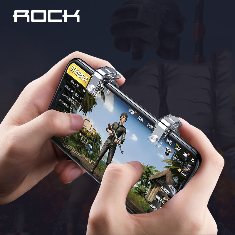 ROCK Gaming Trigger Mobile Phone Games Shooter Controller Fire Button Handle For PUBG Rules of Survival bellow 6.5 inches image