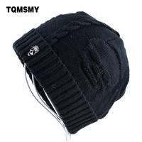 Super Cool Skull Pattern Hats For Men Beanies Knitted Wool Plus Velvet Bone Solid Color Hip