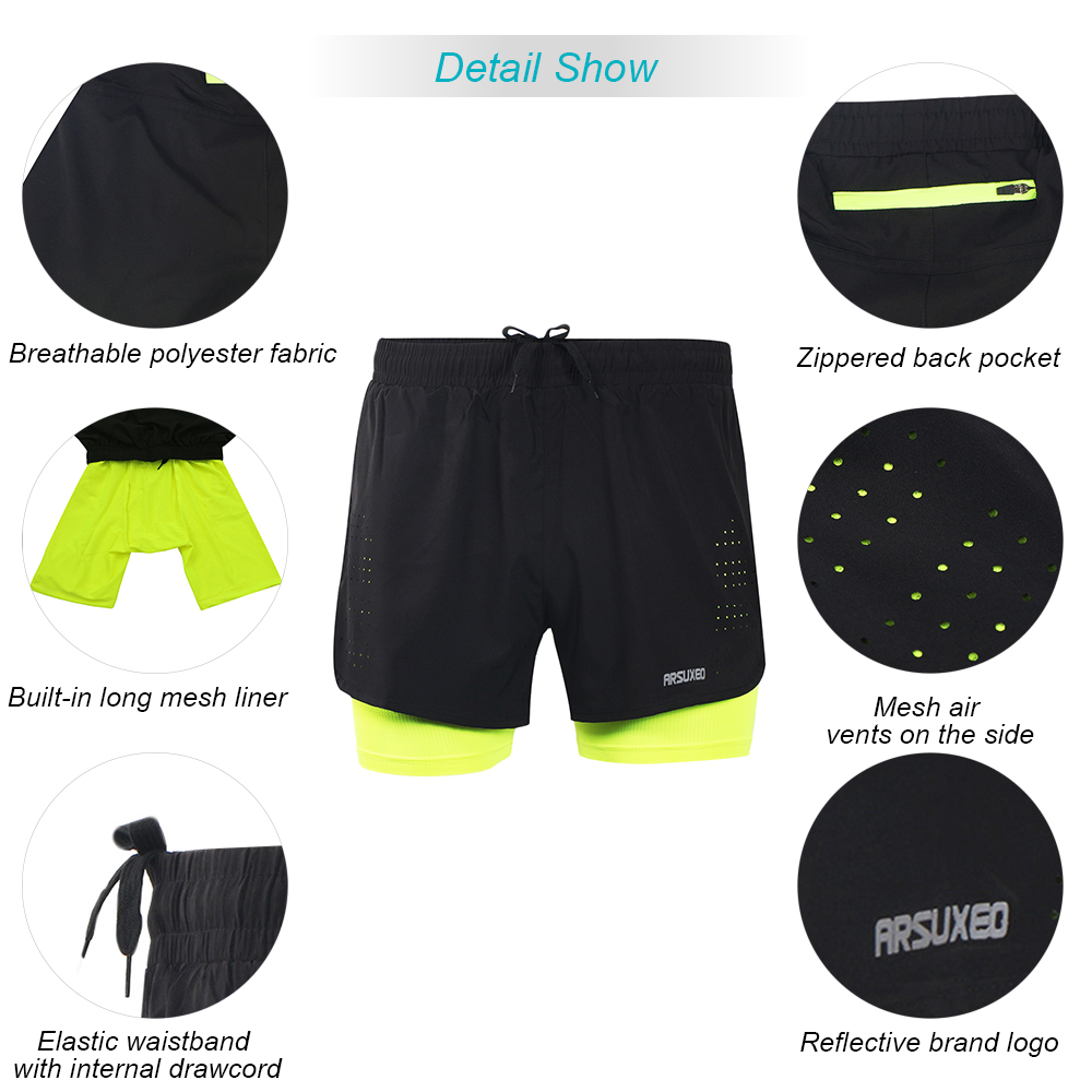 a4b4ae55ff5 Arsuxeo B179 Men s 2 in 1 Running Shorts Quick Drying Breathable ...