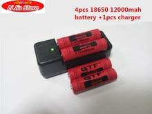 Bateria de Alta Recarregável plus 1 Carregador para Lanterna 4 Pcs 18650 3.7 V 12000 Mah Capacidade Li-ion Led