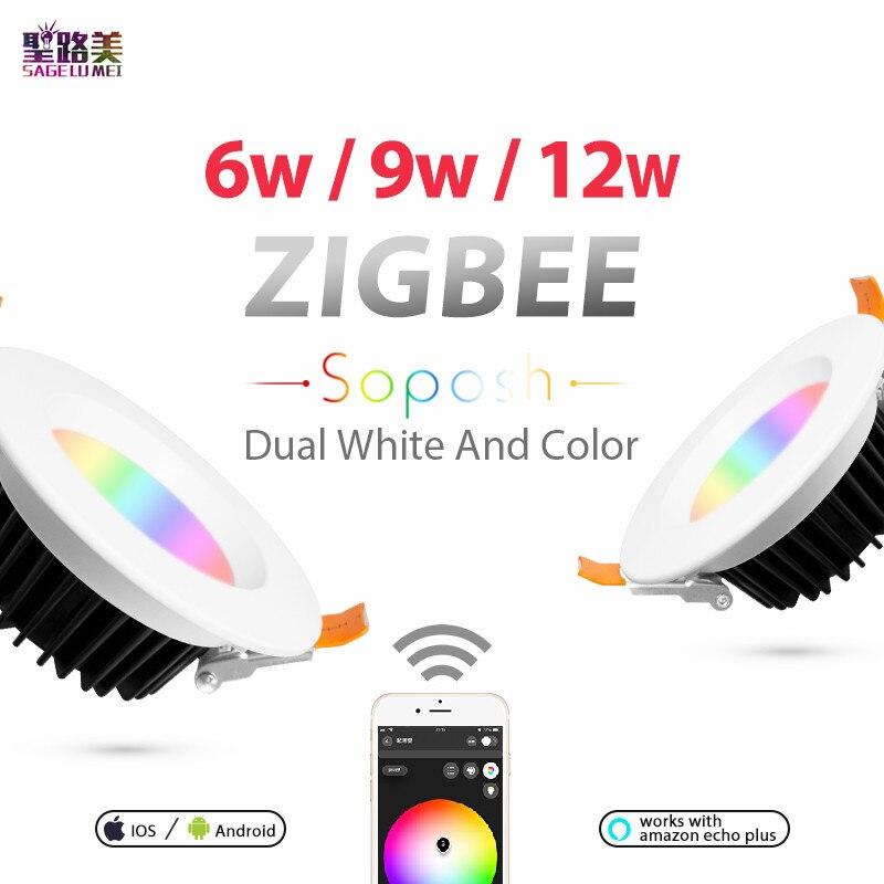 6 W 9 W 12 W AC100-240V ZLL LED downlight ZIGBEE lien lumière rgb + cct WW/CW lumière LED lampe zigbee downlight APP travail avec Amazon Ecoh