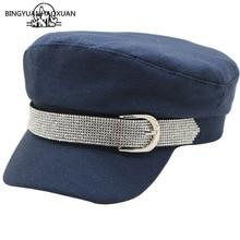 2019 New Winter Hats for Women Flat Top Hat Solid Newsboy Cap Military Super Flash Diamond Belt Buckle