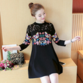 2017 spring butterfly print Shirt  Korean female long sleeve lace embroidery dress three-quater sleeve dress