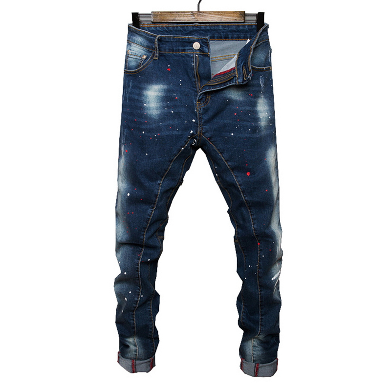 2017 new Spring Autumn thick jeans men brand clothing male blue denim pants top quality casual colorful dot denim trousers brand jeans men 2017 new fashion spring autumn mens jeans slim fitness cotton pants male brand clothing casual denim trousers