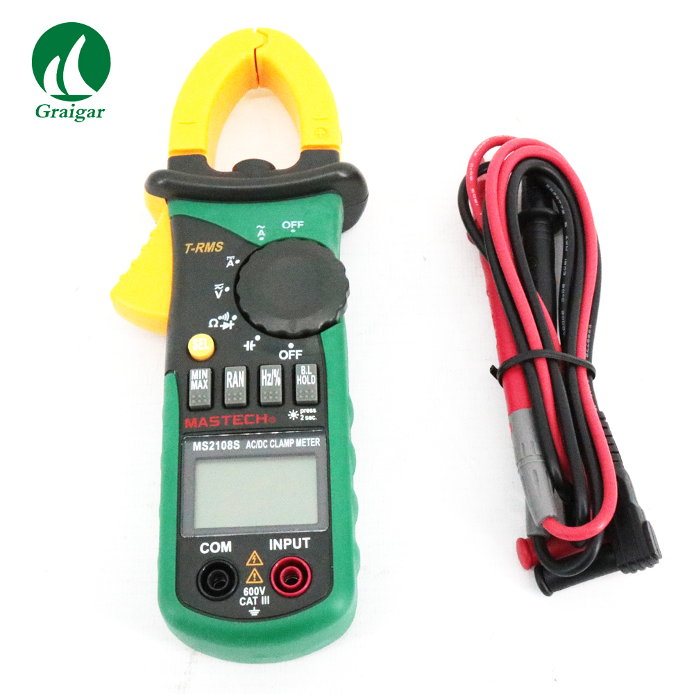 MASTECH MS2108S True RMS 6600 counts Digital AC DC Current 600A Clamp Meter aimometer ms2108 true rms ac dc current clamp meter 6600 counts 600a 600v