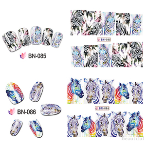 Image 2 - 12 Designs In 1 Set Fashion Style Nail Sticker Water Transfer Tiger Leopard Animal Full Tip Nail Art Tool BEBN85 96