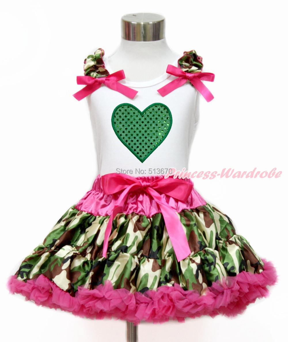 Valentine Green Heart White Top Hot Pink Camouflage Baby Girl Pettiskirt 1-8Y MG1206