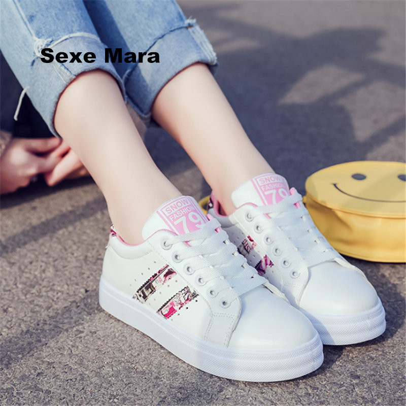 Hot Women Shoes 2017 flat casual shoes woman PU Breathable shoes Non slip Apartment Superstar shoes