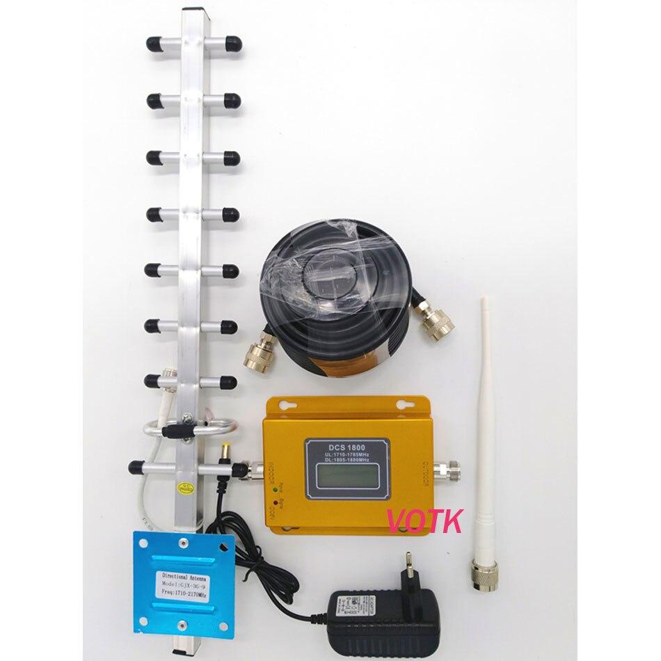 4g LTE 1800 mhz 2g 4g signal booster de Téléphone portable Répéteur DCS 1800 mhz Mobile Signal amplificateur + 13dbi yagi antenne