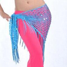 2018 NEW Belly Dance Dancing Triangular Shawl Wrap Hip Scarf Dancewear Costumes 8 Colors(Acid Blue)