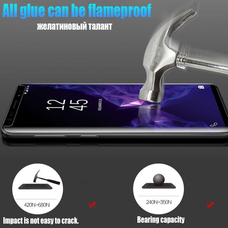 Image 3 - Полное покрытие изогнутое Жидкий Клей закаленное стекло для Samsung Galaxy S10 S9 S8 Plus S7 Edge Note 8 9 10 Защитная пленка для экрана-in Защитные стёкла и плёнки from Мобильные телефоны и телекоммуникации