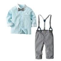 4Pcs Children Boys Suit Clothes Gentleman Costumes Wedding Clothing Set Girls Kids Full Sleeve Shirts Strap pants Overalls