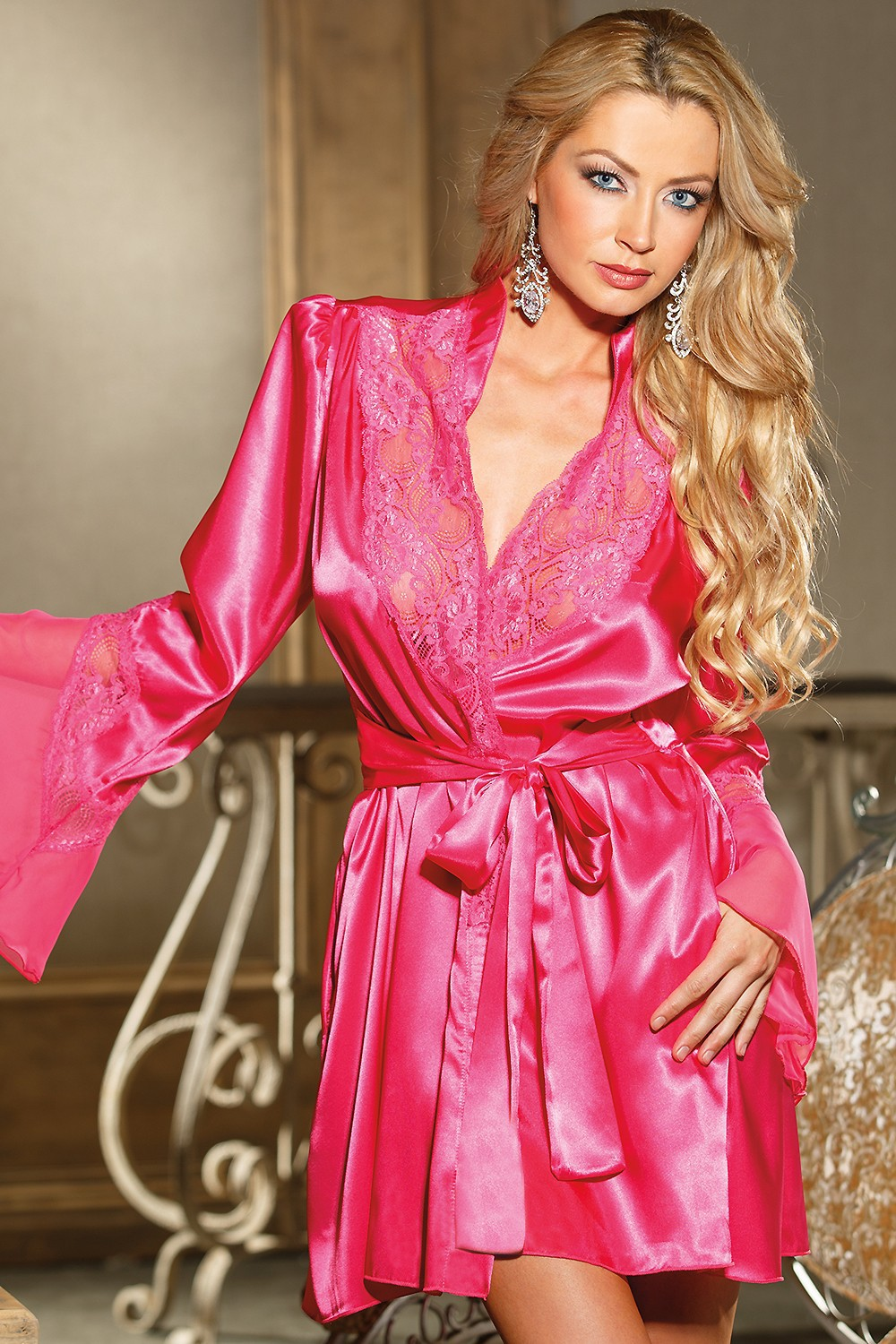 Womens Satin Lace Dressing Gownladies Nightwear With