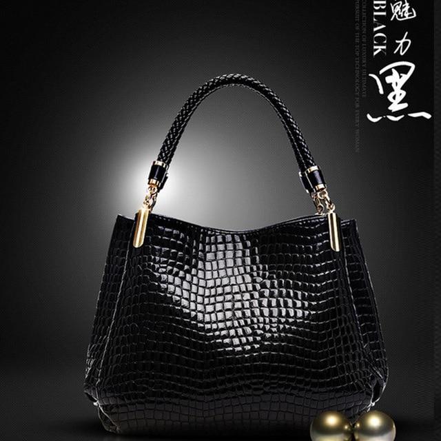 2016 Alligator Leather Women Handbag Bolsas De Couro Fashion Famous Brands Shoulder Bag Black Bag Ladies Bolsas Femininas Sac