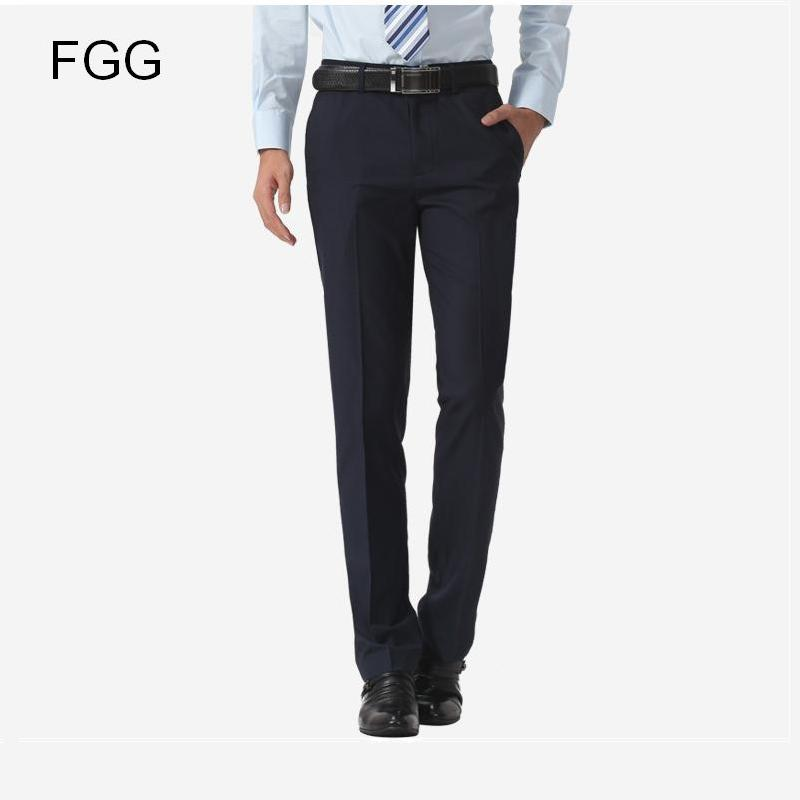 Size 40 Easy Care Casual Business Trousers Formal Office Navy Blue Bestman Wedding Pants For Men Suit Pantalones Hombre In From S