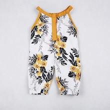 Модная одежда для маленьких девочек с цветочным рисунком для маленьких девочек, Летний комбинезон без рукавов Детский комбинезон, комплект