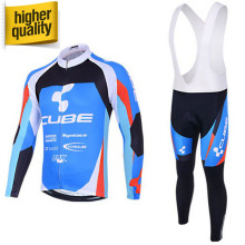 Hot Selling CUBE Men's Autumn Pro Team Cycling Wear Clothing Sets Long Sleeve Bicycle Bike Jersey MTB Tight Sportswear+Gel Pad