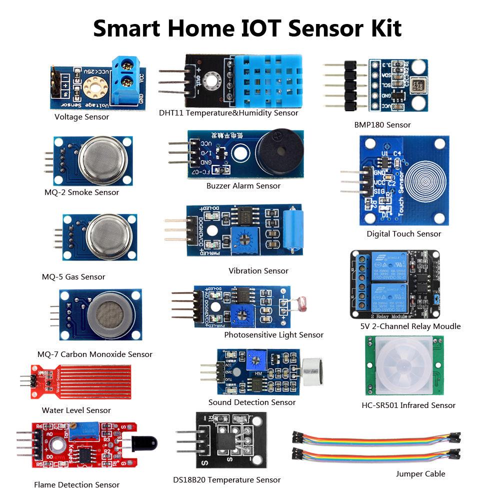 SmartHome System IOT Internet of things 16 Sensor Kits for Arduino Raspberry Pi3