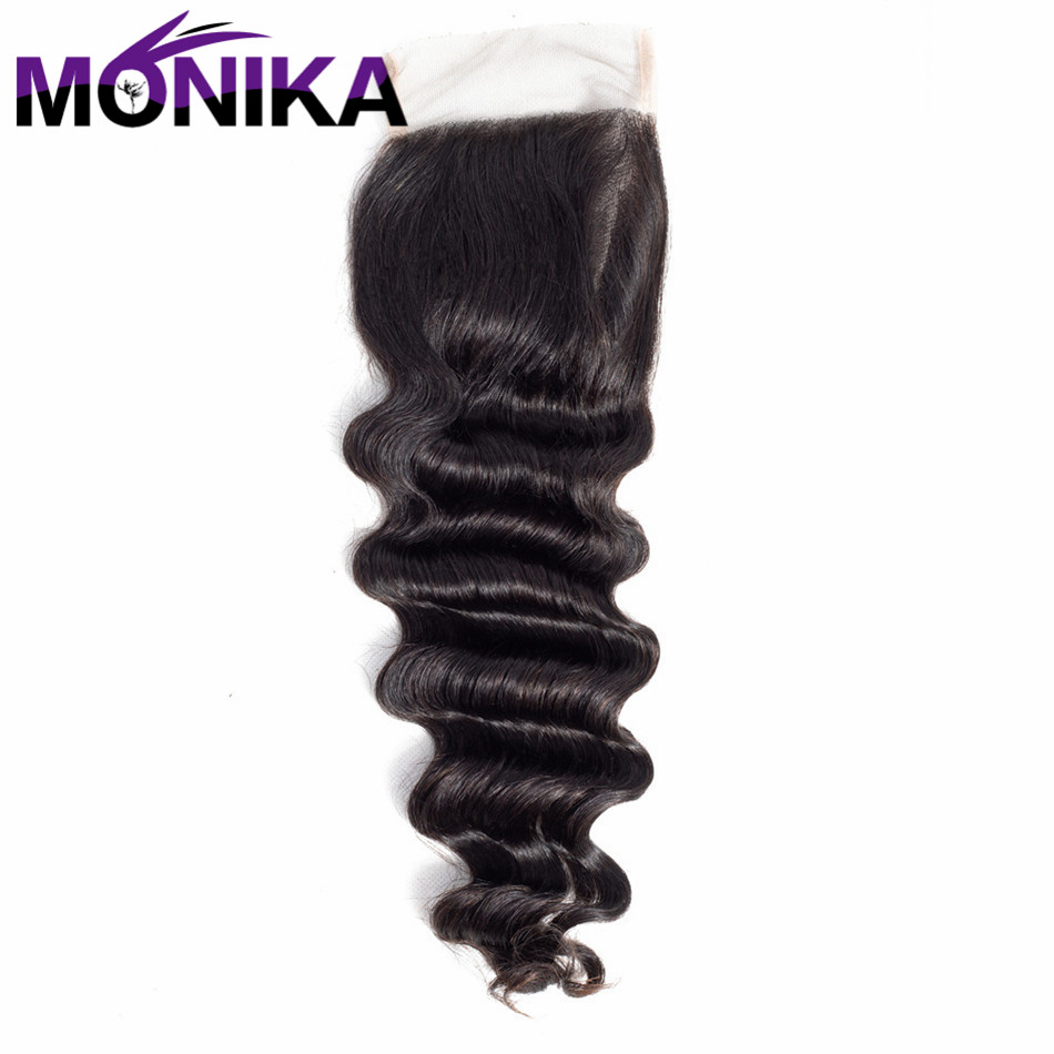 Monika Peruvian Hair Loose Deep Wave 4*4 Lace Closure Swiss Lace Non Remy 100% Human Hair Closure Natural Color