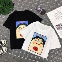 Jielur Harajuku I am Прохладный забавная футболка белого цвета с надписью Футболка Для женщин в Корейском стиле креативный Женская футболка модная ...