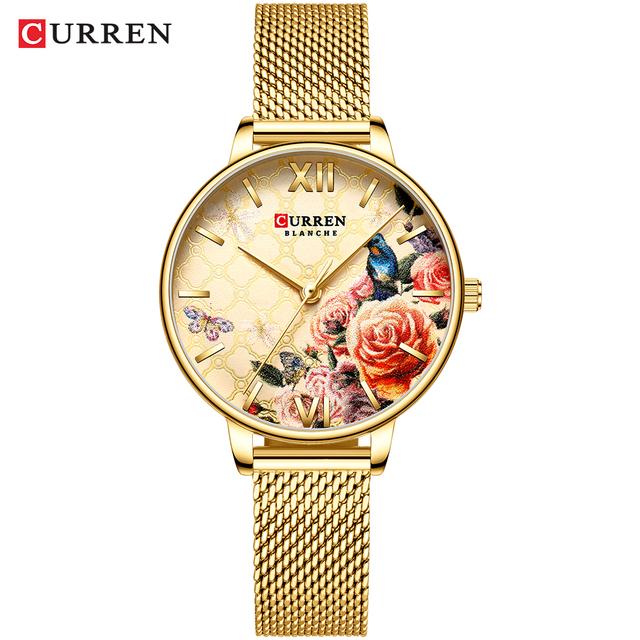 Curren Watch Women Luxury Brand 2019 Charms Flower Ladies Wrist Watches Stainless Steel Gold Watches For Women Montre Femme 2019