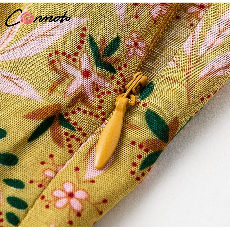 Conmoto Casual High Waist Wide Leg Pants Women 19 Summer Beach Split Trousers Female Holiday Vintage Floral Prints Capris 14