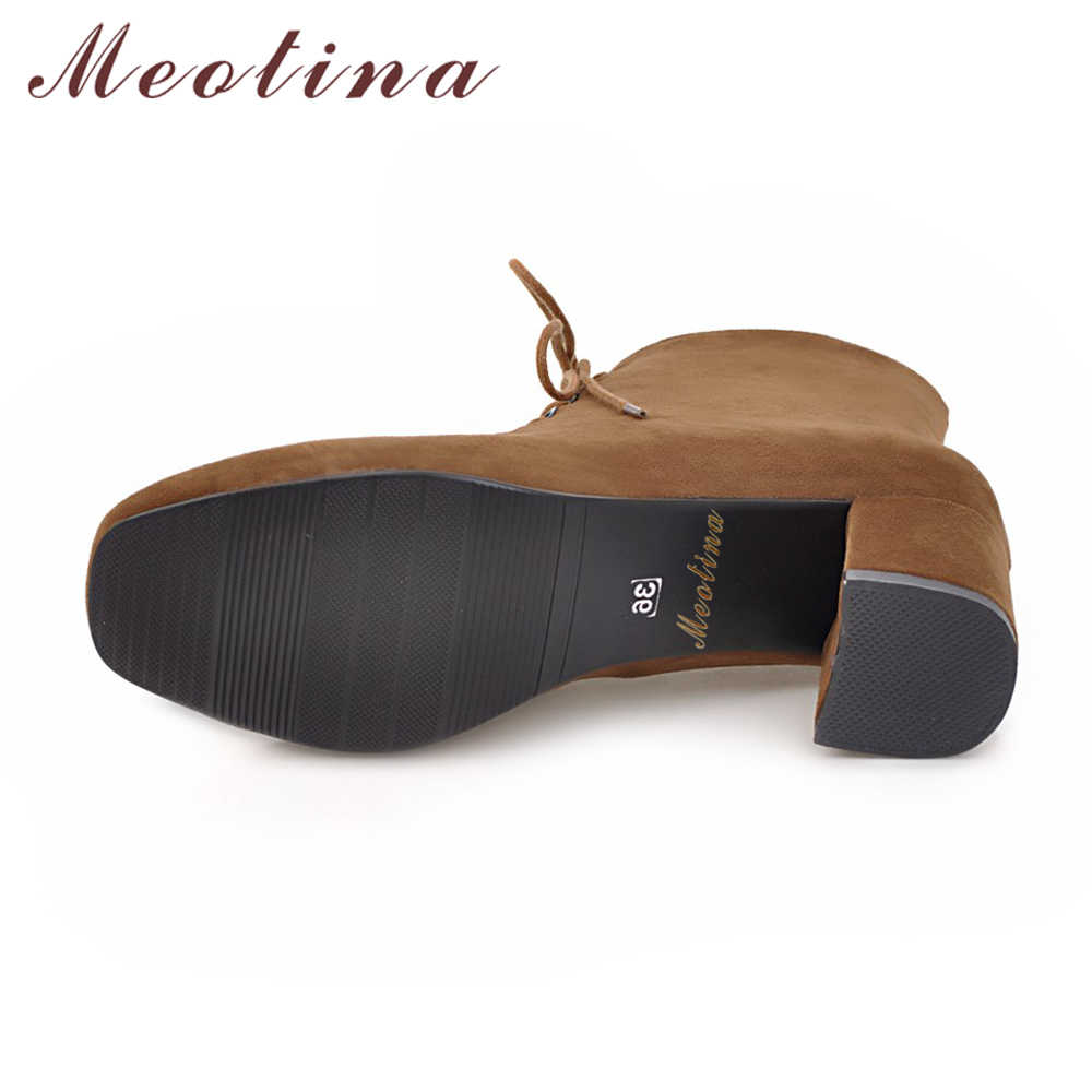 Meotina yarım çizmeler Kadınlar Blok Topuk Bayanlar Çizmeler Yüksek Topuklu kısa çizmeler Sonbahar Nedensel Yuvarlak Ayak bağcıklı ayakkabı 43