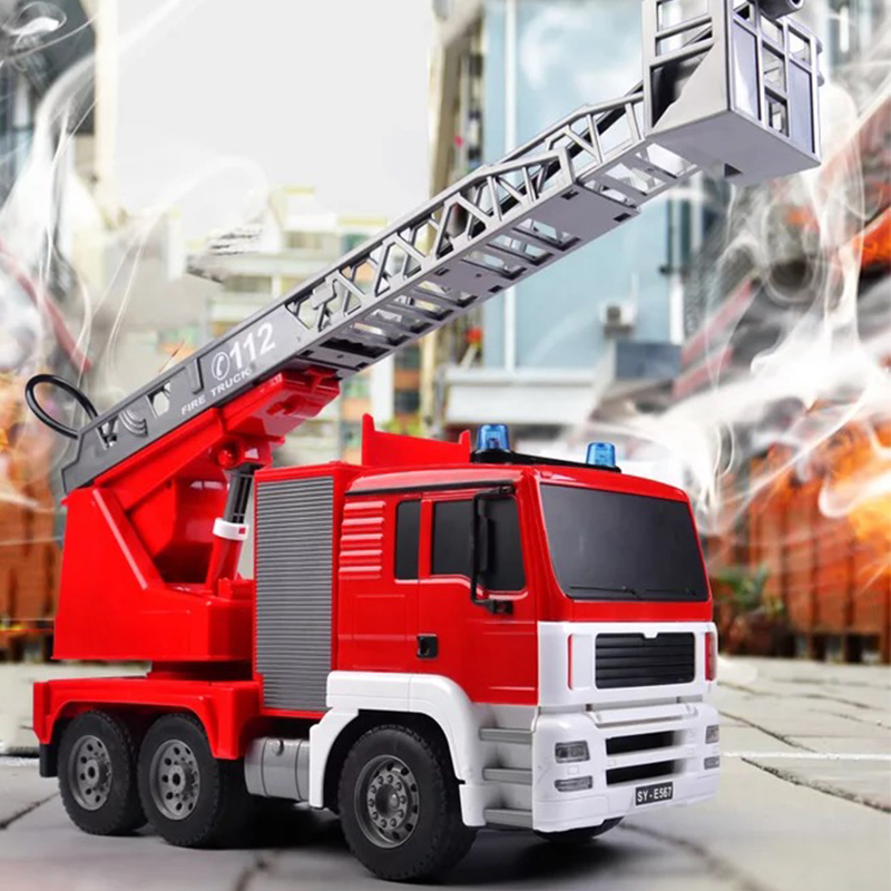 Fire Engine RC Car Fire Engine Truck Engine Truck Toys Diecast Toys with Water tank Lorry Ladder for Birthday for Children in RC Cars from Toys Hobbies