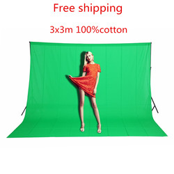 In stock 3x3M Solid color Backgrounds Green screen cotton Muslin background Photography backdrop lighting studio Chromakey
