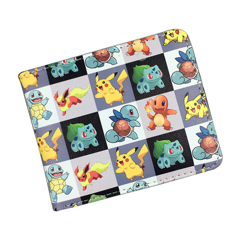 Anime Pikachu Wallet Games Pokemon Purse Gift for Boy Girl Kids Cartoon Pocket Monster Money Bag Men Women Leather Short Wallets anime wallets new designer jeans wallet batman superman denim wallets young boy girls purse small money bag