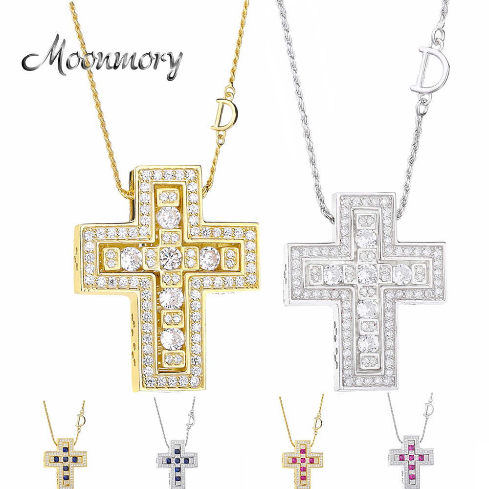 Moonmory 2019 925 Sterling Silver Belle Double Cross With Zircon CZ Pendant Long Chain Letter D Necklace Japanese Men JewelryMoonmory 2019 925 Sterling Silver Belle Double Cross With Zircon CZ Pendant Long Chain Letter D Necklace Japanese Men Jewelry