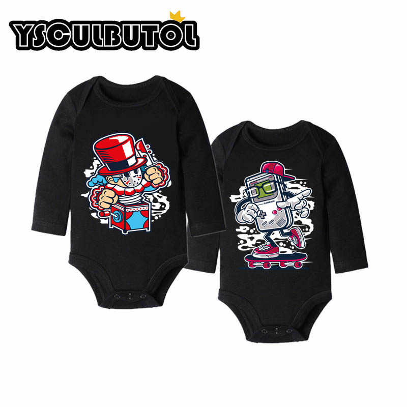 YSCULBUTOL I like Dount I like Burger/черная одежда с длинными рукавами для малышей, 2 предмета, боди для малыша унисекс 0-12 м