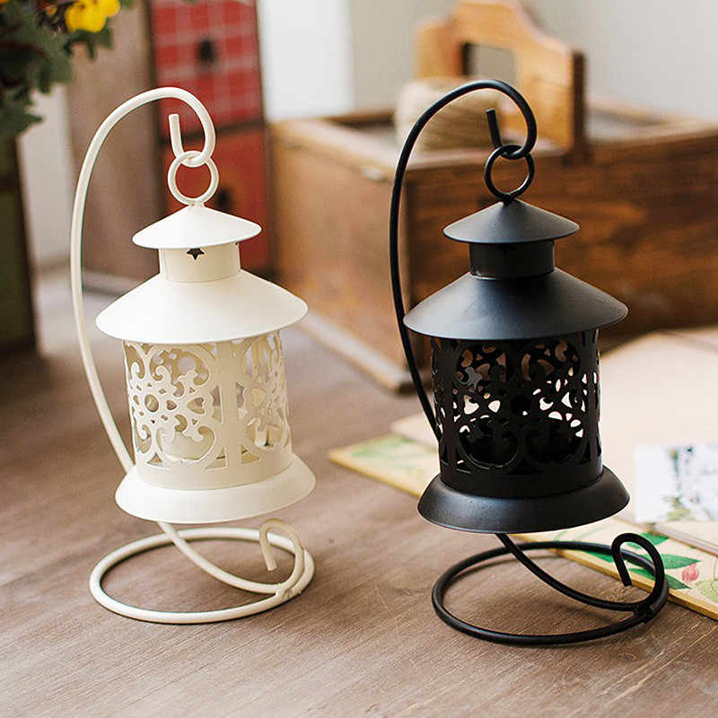 Iron Moroccan Style Candlestick Candle Holder Candle Stand Light Holder European Style Home Party Decoration Lantern