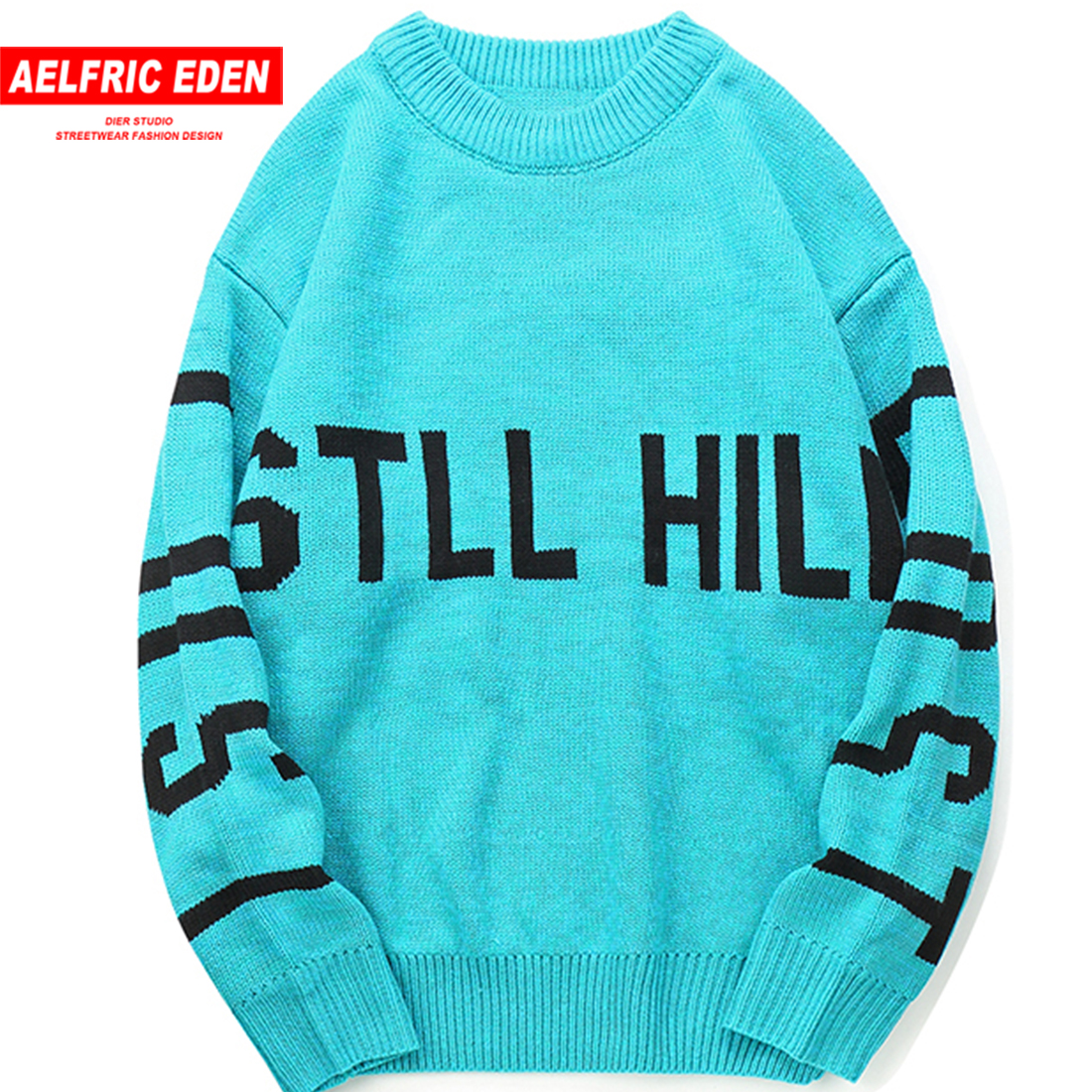 Aelfric Eden Pullover Sweaters Men Letter Print Casual Knitwear Hip Hop Streetwear Computer Knitted Male Harajuku Clothing STR01