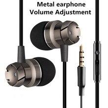Наушники с металлическими басами 3,5 мм, спортивные наушники для бега, стерео наушники с микрофоном для ios/Android плеера, мобильного телефона, Mp3