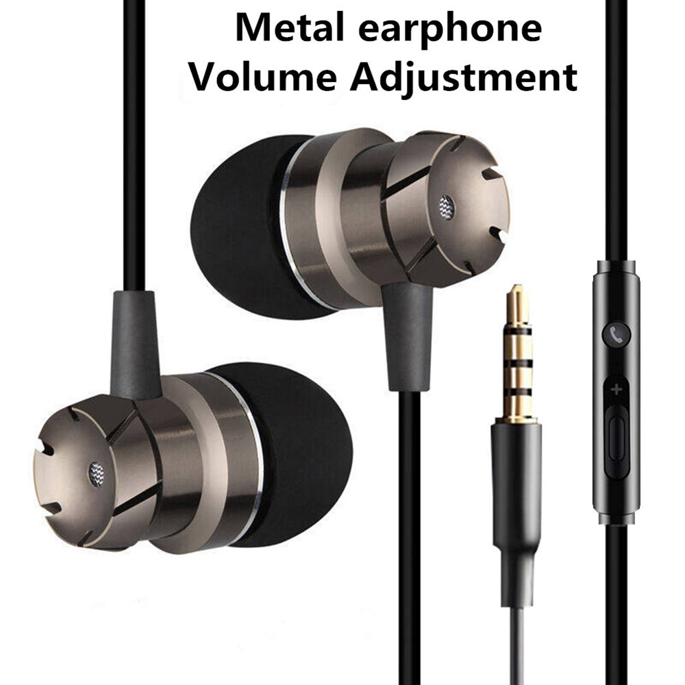 Earphone Metal Bass 3.5mm Headphone Sport Running Stereo In Ear Headset With Microphone For ios/Android Player Mobile Phone Mp3