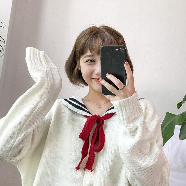 5d3caa708b 2019 Novo Estilo Japonês Bonito Lace-up Gola Marinheiro Camisola Das  Mulheres Cardigans Tarja Feminino