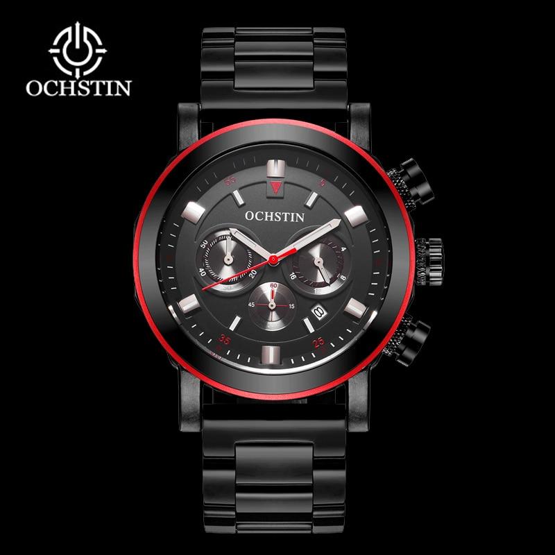 OCHSTIN Տղամարդկանց բիզնես ժամացույցներ անջրանցիկ Chronograph Watch Man Steel Sport Quartz Ձեռքի ժամացույց տղամարդկանց ժամացույց Արական սև կարմիր 2018