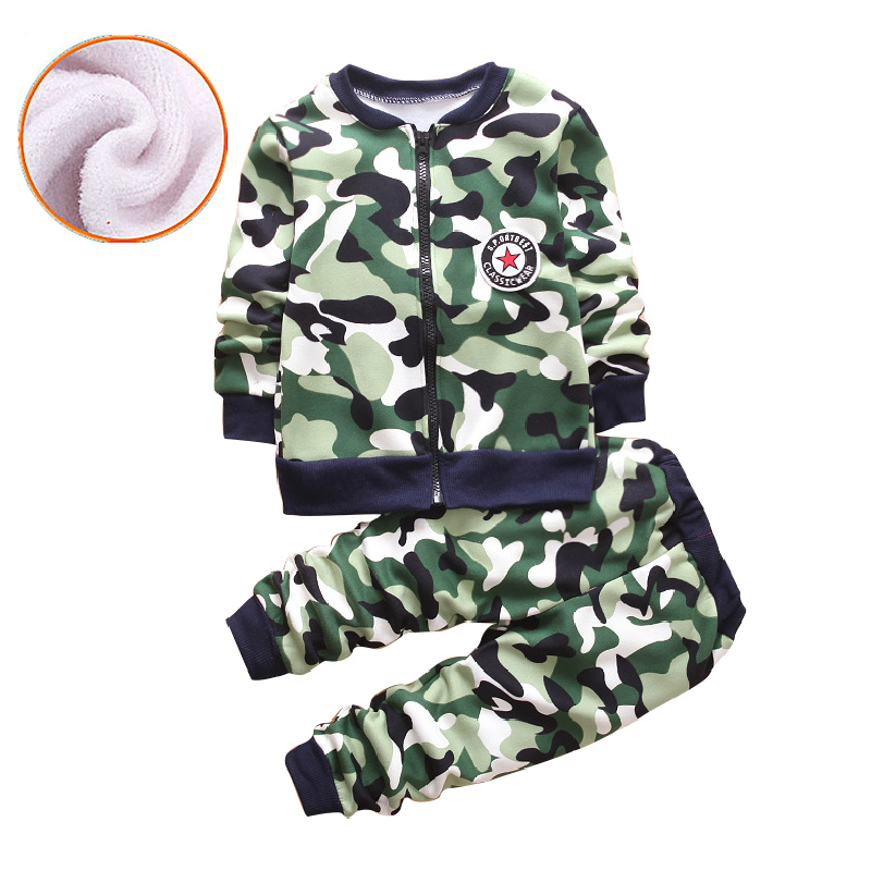 New Autumn Winter Baby Boys Girls Clothes thick Camouflage ZIP Sweater+Pants 2pcs Kids Sport Suit For Girls Clothing Sets 0-5