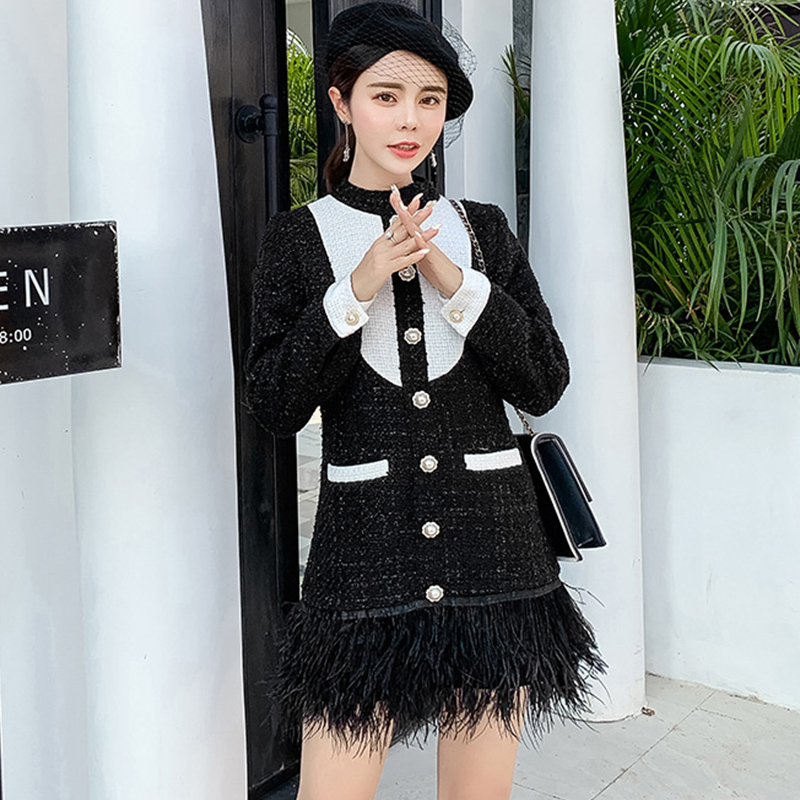 513296f2908d2 US $38.21 37% OFF|2019 Spring Women Feather Hem Patchwork Tweed Mini Dress  OL Long Sleeve Back Zipper Color Pearls Buttom Silm Fashion Party Dress-in  ...