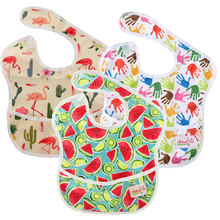 Ohbabyka 3PCS/Pack Baby Bibs Waterproof Infant Boys Girls Superbib with Pocket Reusable Feeding Baberos Bebes