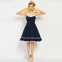 Sisjuly 1950s Vintage Dresses Summer Knee Length Women Dark Blue Strapless Dress 2018 Backless Halter Rockabilly