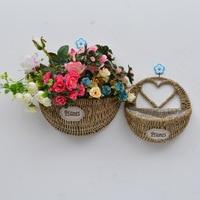 1 2pcs Wall Mount Hanging Wicker Storage Basket Woven Flower Pot Planter Rattan Vase Home Garden