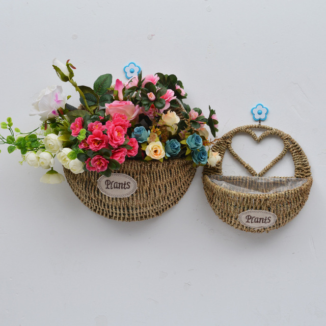 Us 11 1 30 Off Whism Wall Mount Hanging Wicker Storage Basket Woven Flower Pot Planter Rattan Vase Home Garden Decor Container In
